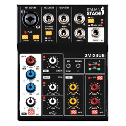 ITALIAN STAGE 2MIX3UB Mixer con interfaccia USB e Bluetooth