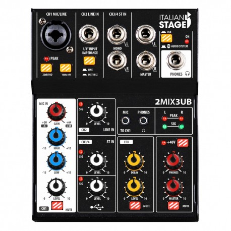 ITALIAN STAGE 2MIX3UB Mixer con interfaccia USB e Bluetooth
