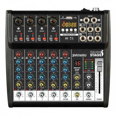 ITALIAN STAGE 2MIX6XU Mixer con interfaccia USB e Bluetooth